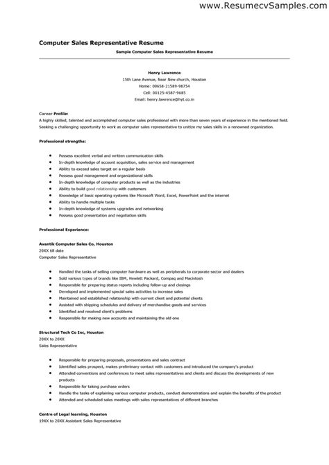 Resume Sles For Telemarketing Sales Representative by Computer Sales Representative Resume Format Computer Sales Representative Resume