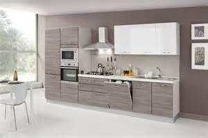 Cucina moderna bicolore con cappa in acciaio fiores mobili