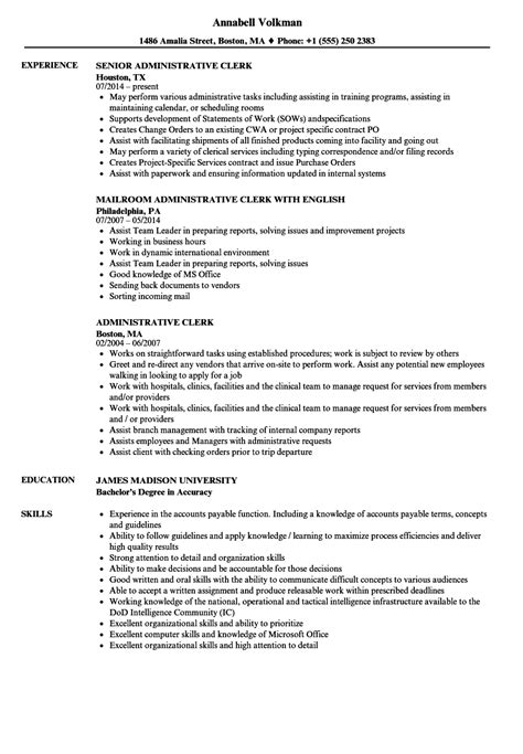 administrative clerk resume talktomartyb