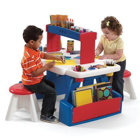 kids desk for two step2 creative projects table red blue kids art desk