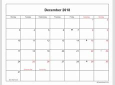 December 2018 Calendar With Holidays Uk printable 2017