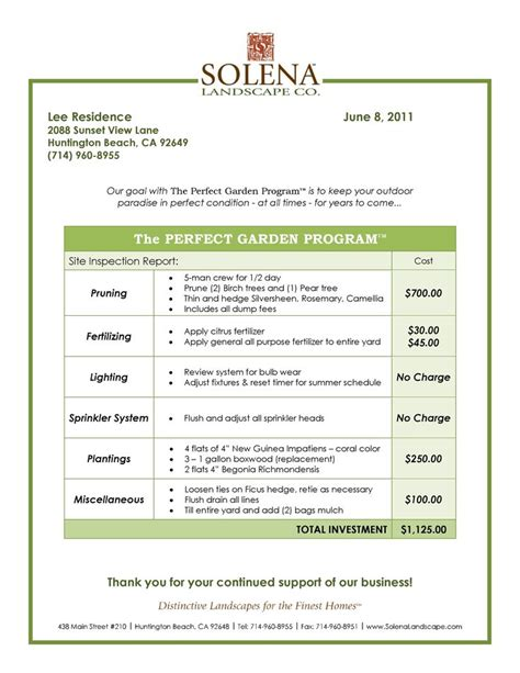landscaping contract agreement samples  landscape