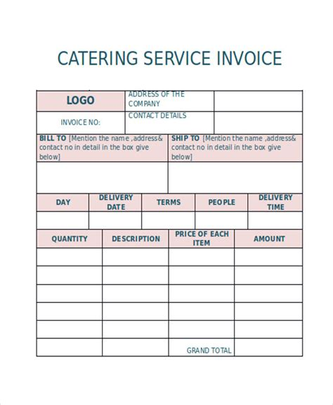 catering invoice templates   word  format