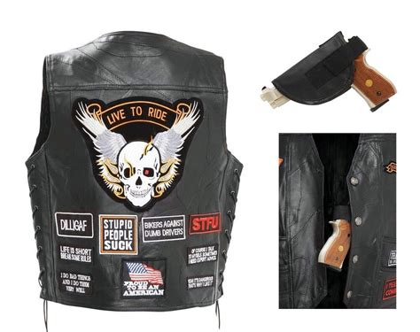 Mens Black Buffalo Leather Concealed Carry Vest Gun