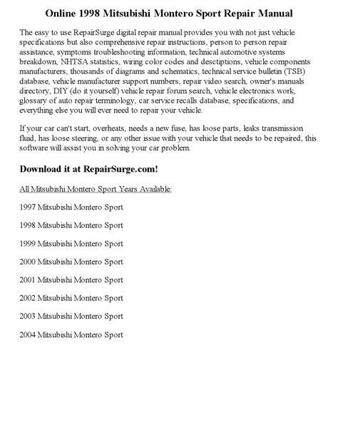 service manuals schematics 2000 mitsubishi montero sport electronic valve timing 1998 mitsubishi montero sport repair manual online by vaugnmeyers issuu