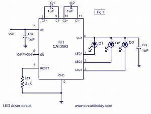 Three Channel Led Driver Circuit Using Cat6063 Ic  Circuit