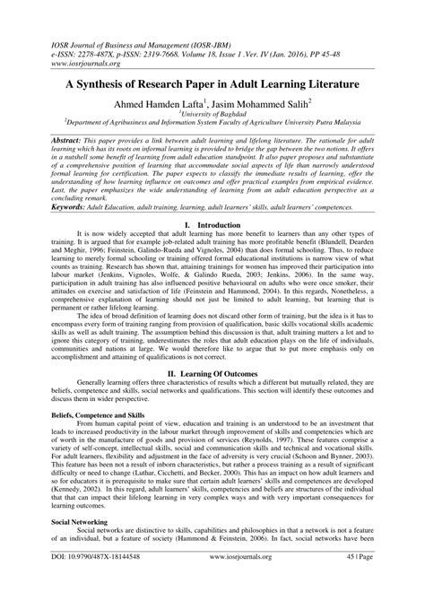 synthesis  research paper  adult learning literature