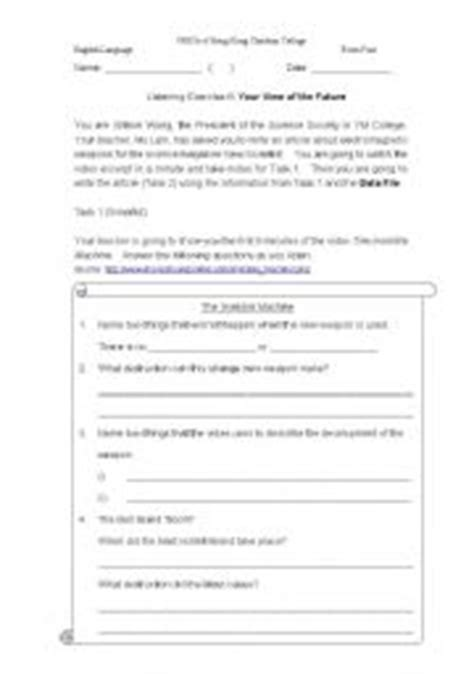 English Worksheets Listening And Notetaking Activity