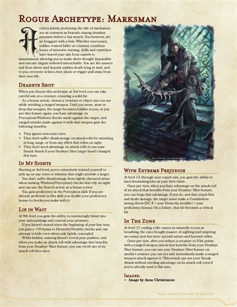 5e rogue subclass archetype draft dnd archetypes homebrew hordes marksman 2nd monster comments dungeons dragons warfare mass rules classes imgur