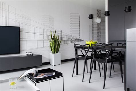 Apartments Minimalist by Minimalist Masculine Apartment Design With Neon Details