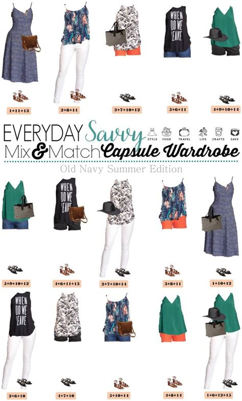 navy summer capsule wardrobe mix  match outfits