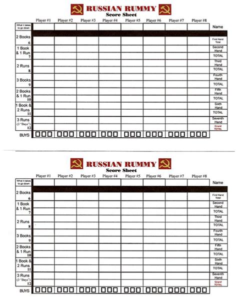 Printable Shanghai Rummy Score Sheets Music Search Engine At