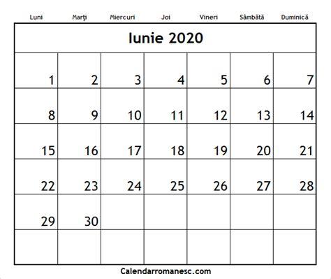 calendar iunie calendarul romanesc printabil