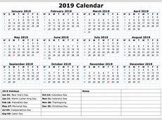 Printable Calendar For 2019 With Holidays Printable Calendar