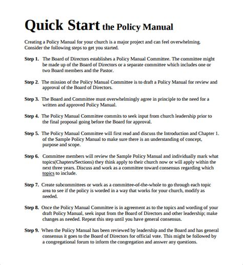 policy manual templates   sample templates