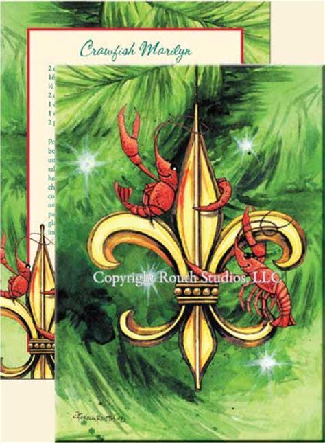louisiana fleur de lis crawfish christmas cards