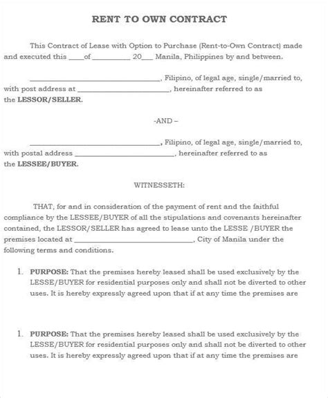 Lease To Own Agreement Template  28 Images Lease