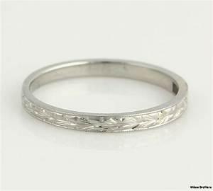 Vintage High Karat Womens Wedding Band - 18k White Gold ...