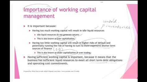 working capital management part  youtube