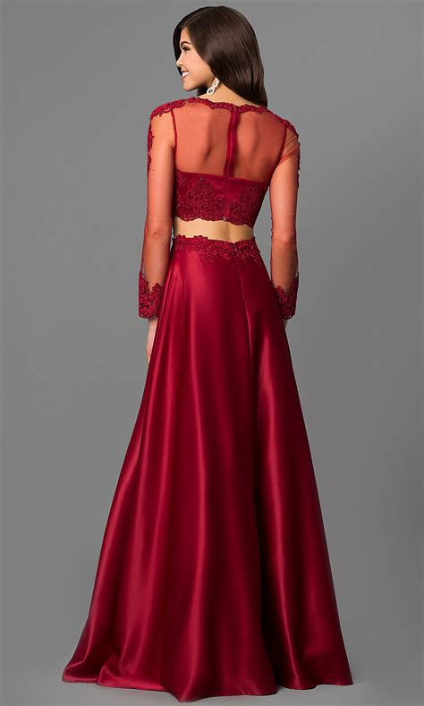 Sleeved Lace-Bodice Two-Piece Prom Dress - PromGirl