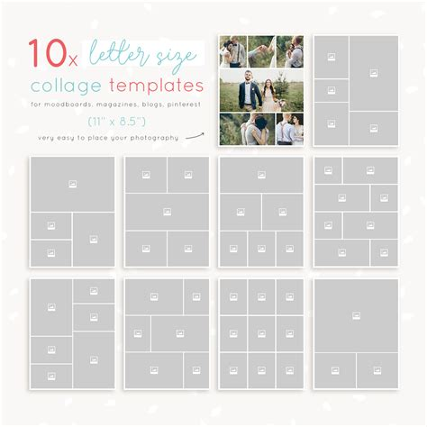 letter size collage templates strawberry kit