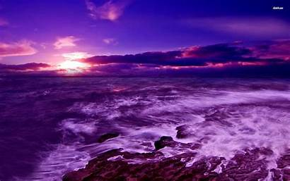 Purple Sunset Ocean Sea Sky Dark Desktop