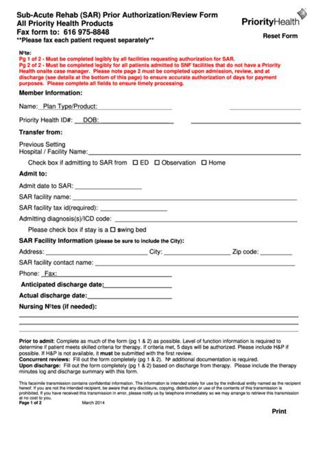 health options prior authorization form fillable sub acute rehab sar prior authorization form
