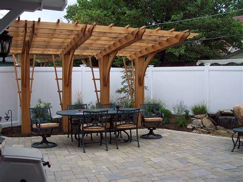 cantilever pergola unilock paver patio pergolas