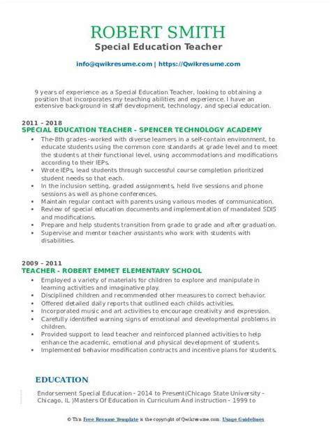Special Education Resume by Special Education Resume Sles Qwikresume