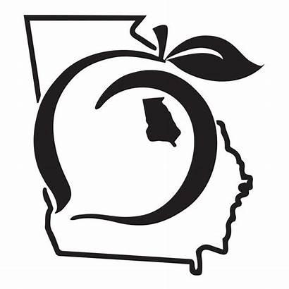 Peach Georgia State Decal Clip Pride Sticker