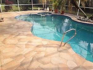 Pool besf of ideas and patio design with semi inground for Pool deck ideas made from concrete