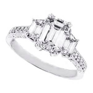 emerald cut three engagement ring engagement ring three emerald cut engagement ring with trapezoids 0 96 tcw es127ec