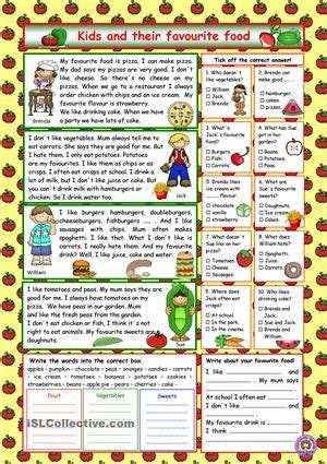 reading comprehension for elementary level about kids and their favourite food comprehension