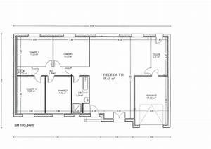 plan maison rectangle 4 chambres With plan de maison rectangulaire