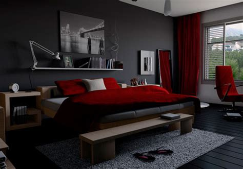 wow red black  grey bedroom    home interior