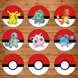 pokemon cupcake toppers red white