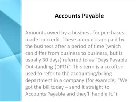 accounts payable definition   accounts payable