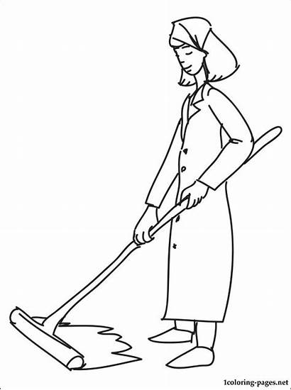 Cleaner Coloring Pages Cleaning Sweeper Drawing Getdrawings