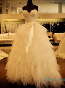 H1640 sparkle beading tulle wedding dress wtih ruffles for Wedding dress with ruffles on bottom
