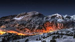 Ice mountains landscapes snow night fire deviantart high ...