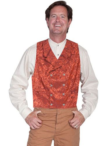 wah maker silk double breasted vest rust mens