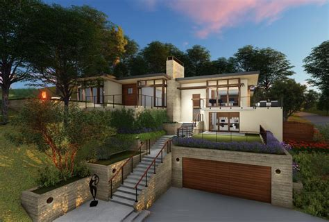 modern hillside house garage hillside house modern house exterior sloping lot house plan