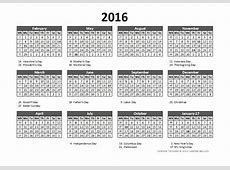2016 Accounting Calendar 544 Free Printable Templates