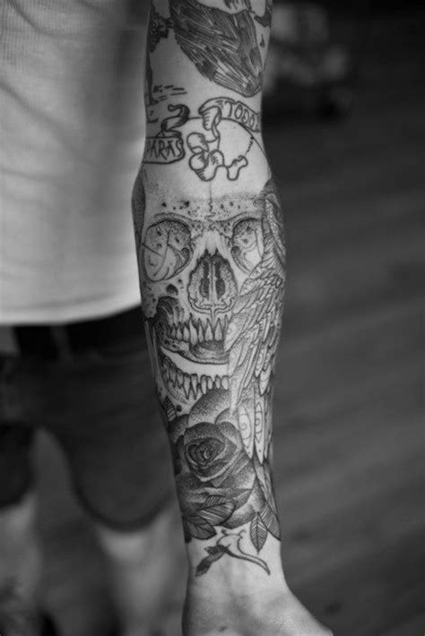 Skull forearm tattoo sleeve | permanent individuality | Pinterest | Forearm tattoo sleeves
