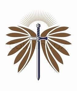 Military design with sword, wings, sunburst for logo ...