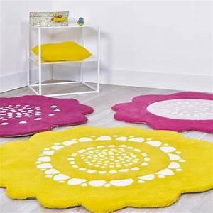 tapis rond chambre enfant tapis enfant coton nuage bleu With tapis chambre bébé avec fleurs en tapis