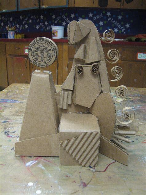 smartteacher resource cardboard cubist sculptures