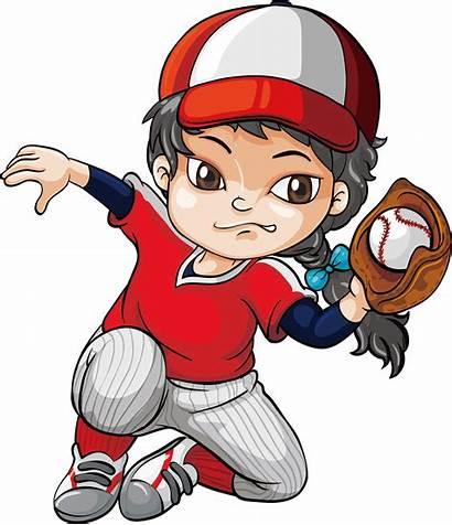 Baseball Clipart Clip Catch Pitcher Cartoon Batting