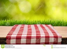 Picnic Table With Cheched Tablecloth Stock Image Image