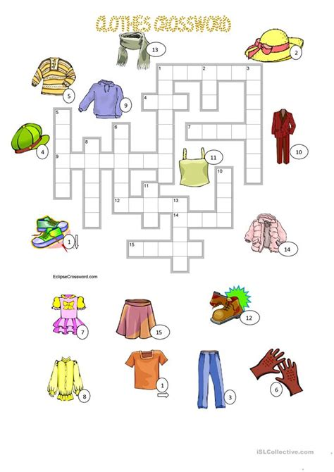 clothes crossword key worksheet  esl printable